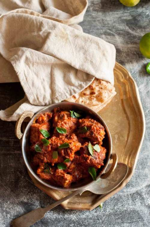 Authentic Mangalorean Chicken Ghee Roast made with whole spices,tamrind and jaggery.