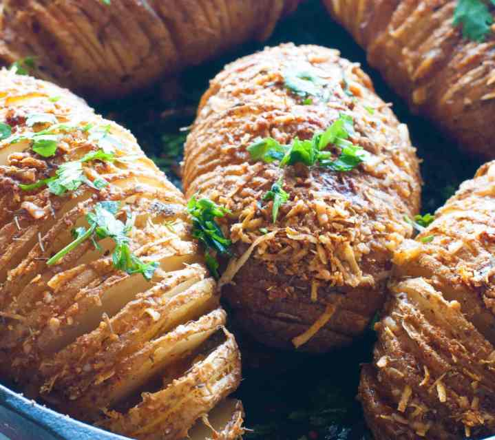 Baked Parmesan Crusted Hasselback Potatoes