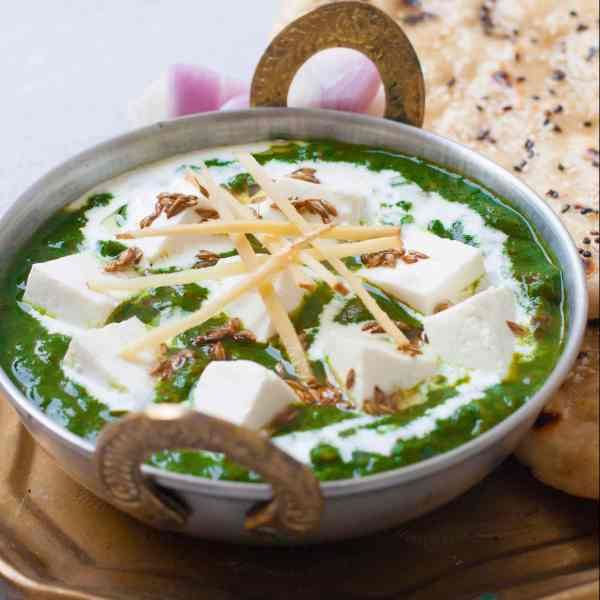 The best Palak Paneer Recipe - Dhaba Style - Easy to make recipe of the Famous Indian dish made with Spinach and Cottage Cheese