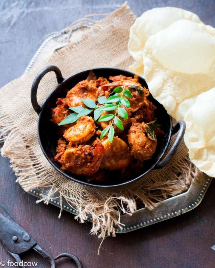 Mangalorean Prawn Sukka - A spicy, tangy Prawn roast from the west coast of india made with chillies,tamarind and fresh coconut.