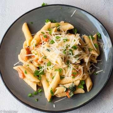 Penne pasta in Creamy Alfredo Sauce