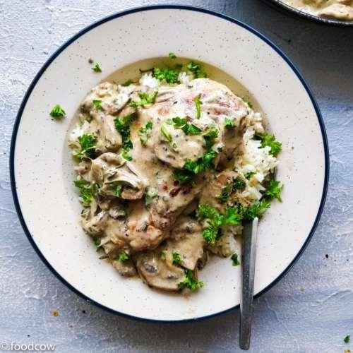 Chicken in Garlic Mushroom Cream Sauce Recipe - Chicken breast in creamy sauce made with cream,mushrooms and garlic with NonDairy option.