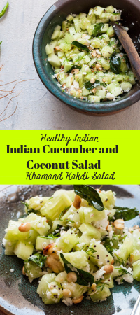 Indian Cucumber and Coconut Salad - Healthy Khamang Kakdi Salad recipe with diced cucumber tossed in fresh coconut,curry leaves and roasted peanuts #cucumber #salad #indiansalad #cucumbersalad #healthysalad #peanuts #coconut #maharashtrianfood #marathifood