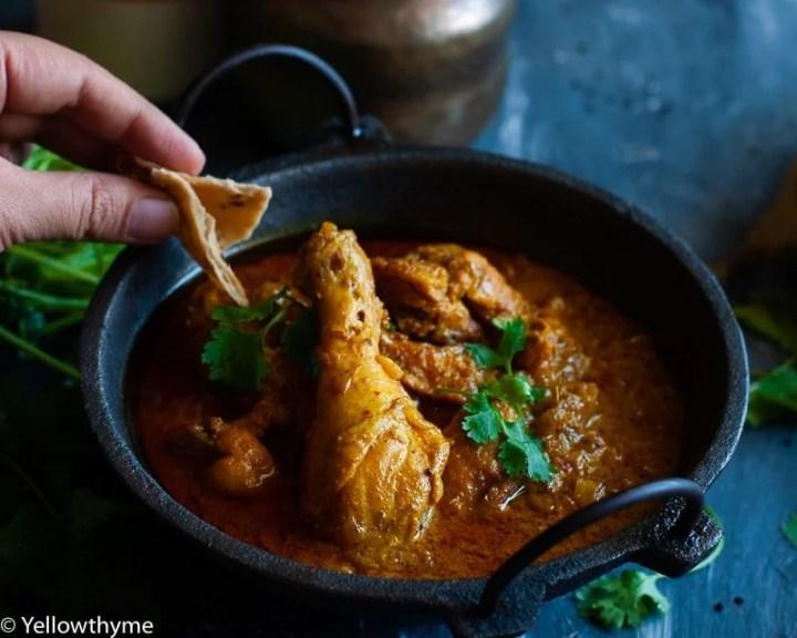 Achari Chicken in black kadai