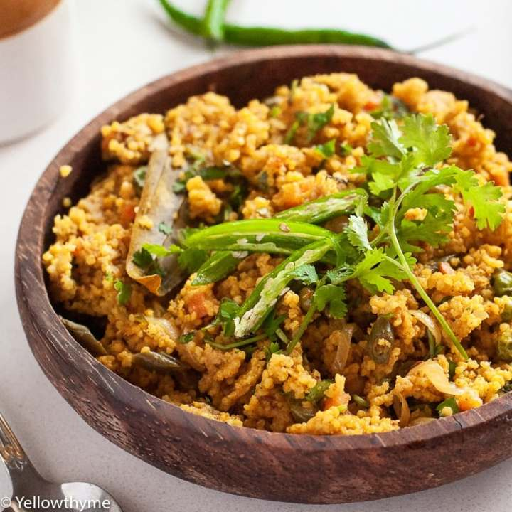 Healthy Foxtail Millet Tehri - Vegetarian Indian Turmeric Millet Pulav Recipe
