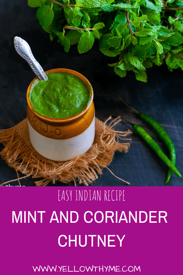 Indian Green Chutney Recipe with Coriander and Mint leaves.This Chutney is Vegan,Paleo and whole 30 approved and Gluten Free. #chutney #greenchutney #simple #mintchutney #corianderchutney