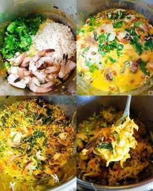 making of Shrimp pulao