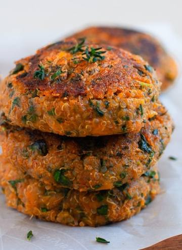 Quinoa and Sweet Potato Patties - Healthy, Vegan, Gluten Free & Nutrient Dense patties perfect for burger or a pita or just rolled in a few lettuce leaves