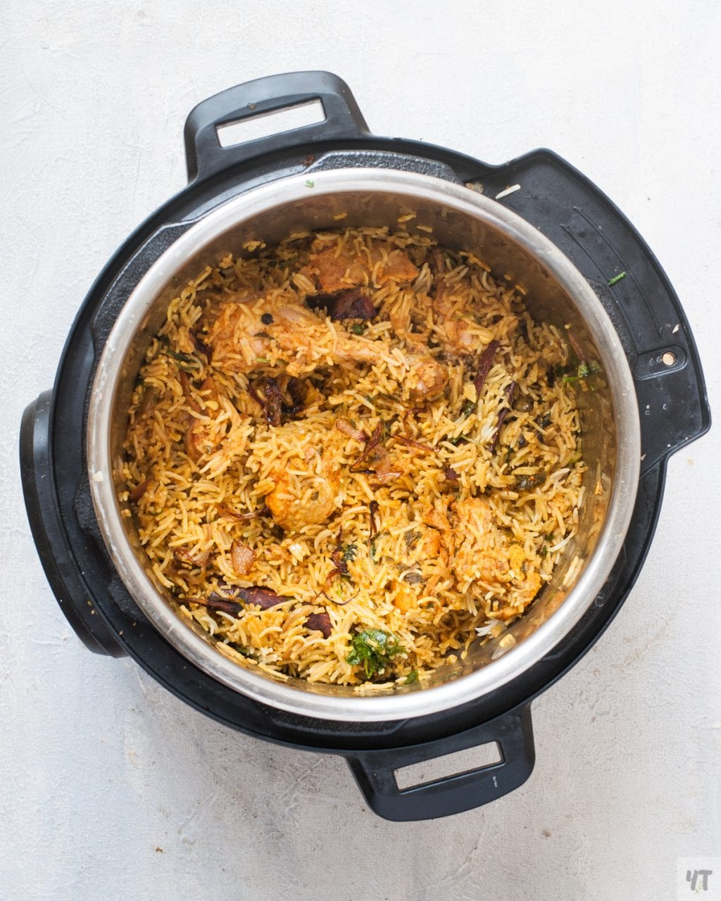 How to make Chicken Biryani in Instant Pot - One Pot ,tried and tested recipe of Hyderabadi Chicken Biryani made with Basmati Rice,Herbs and whole Spices. #biryani #instantpot #instantpotrecipe #indianinstantpotrecipe #indianrecipe #ricerecipe #chickenrecipe #chicken #indianchickenrecipe