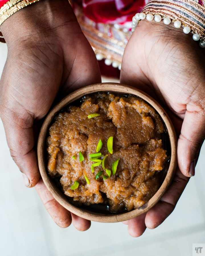 Aate Ka Halwa in hands