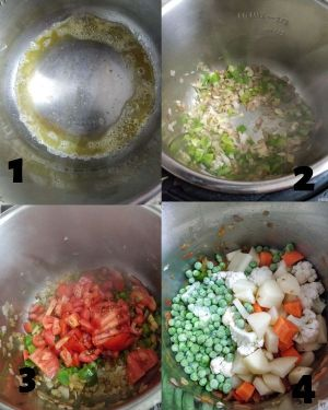 Step by step Making of instant pot Pav Bhaji