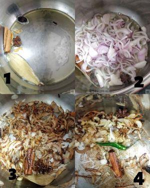 Frying the onions for Instant Pot Veg Biryani