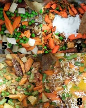 Making of Instant Pot Veg Biryani - Adding the vegetables and rice