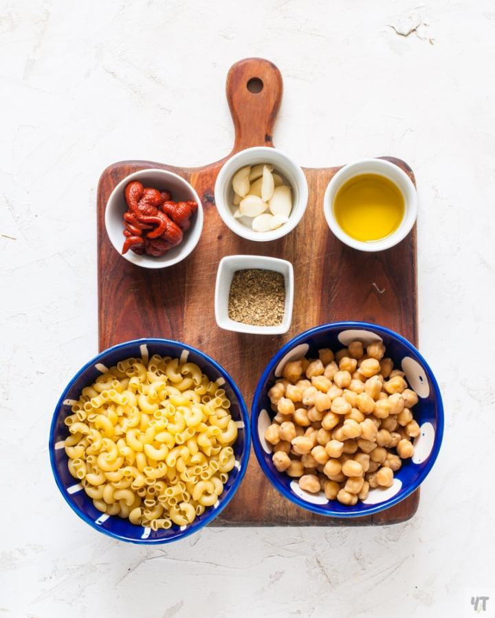 Ingredients for Instant Pot Pasta with chickpeas