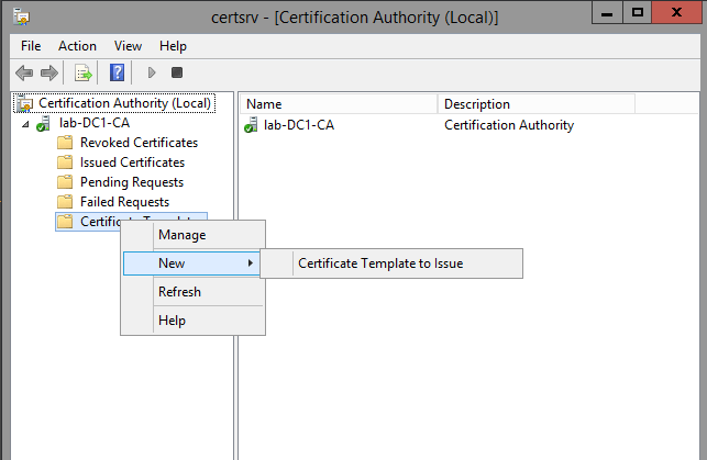 Creating a microsoft certificate authority template for ssl right click certificate templates and click new certificate template to issue yadclub Images