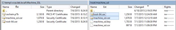 Copy cer files to VCSA