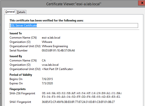 ESXi Renewed SSL Thumbprint