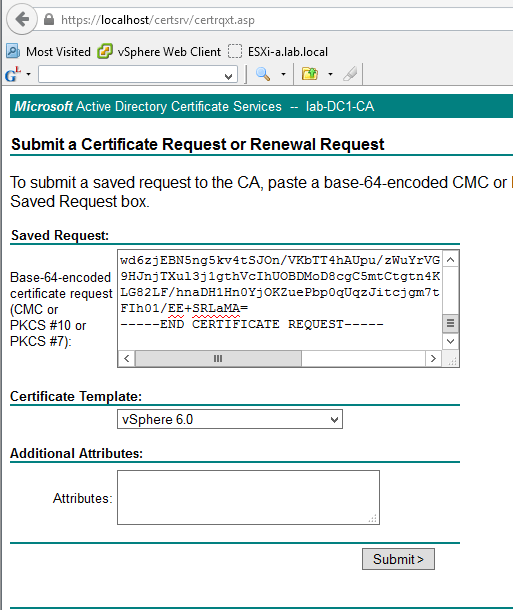 Submit Certificate Request to MS CA