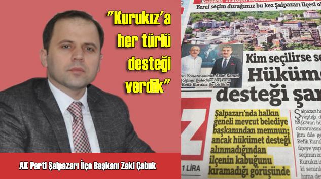 """AK Parti İlçe Başkanı Zeki Çabuk, """"Belediyemizin destek alamadığı hiç bir konu yok"""" dedi"""