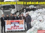 Şalpazarı'ndan İdlib'e yüzlerce çuval odun gönderildi