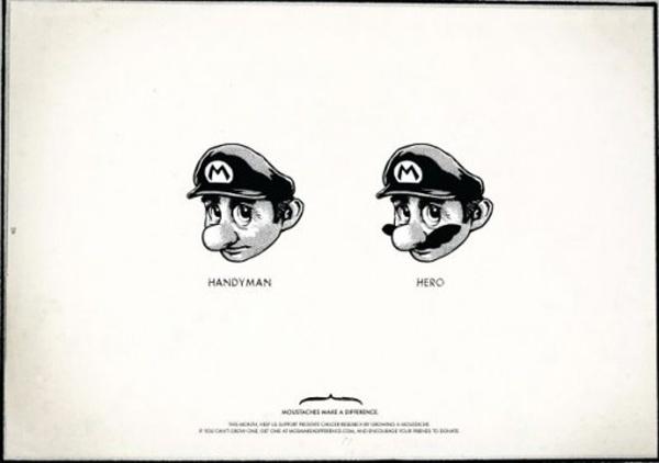 Mario y Movember. Un bigote te cambia la vida.