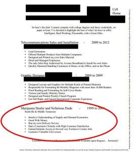 Marijuana dealer resume