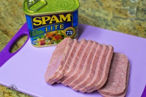 Can of Lite Spam sliced