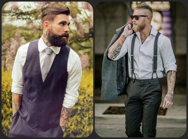 Tattooed men in suits
