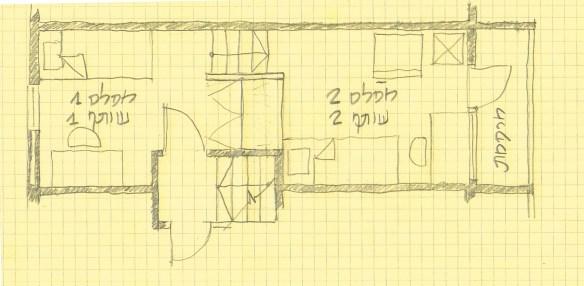 מעונות סטודנטים שנה א' בטכניון - סקיצה של חדר במעונות ריפקין