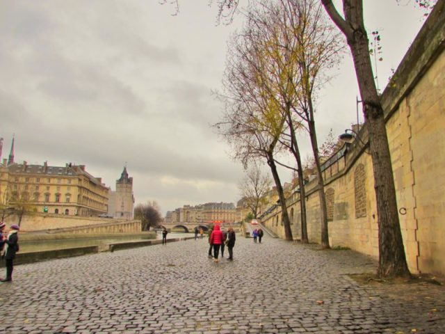Seine river paris france cobbled street city europe