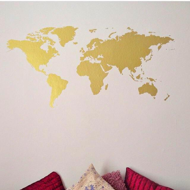 World Map Wall Art | Yesihaveablog | Wall Stickers & Decals | DIY Travel Photo Display