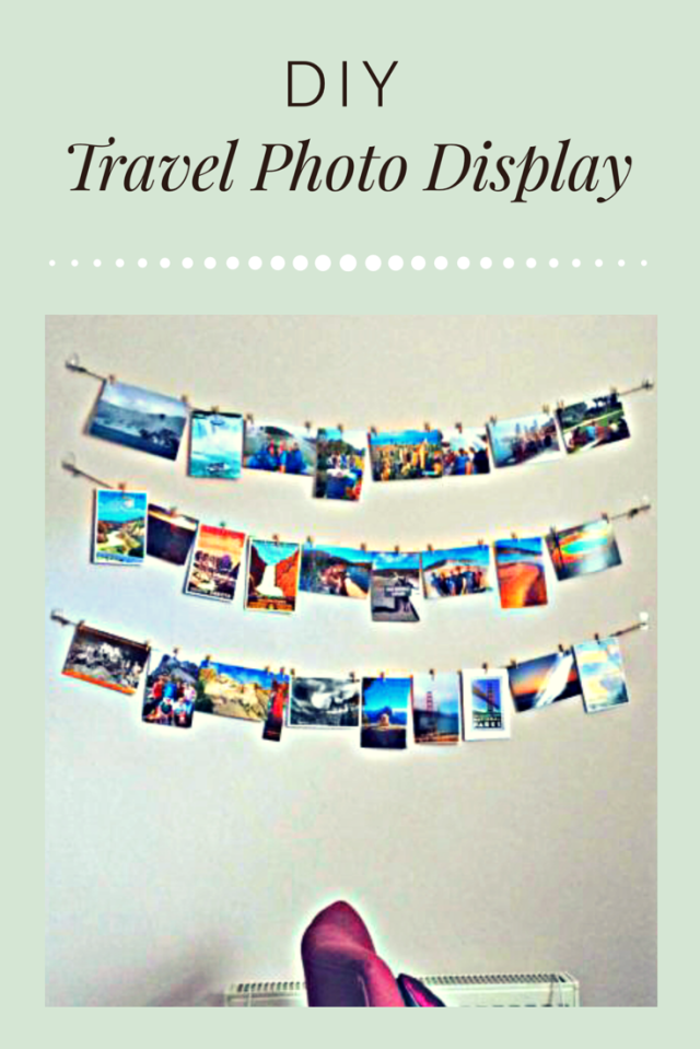 Follow these simple steps from yesihaveablog.com to create your very own diy hanging travel photo display and other wanderlust inspired decor