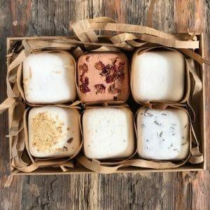 Handmade vegan plastic free bath bomb gift set