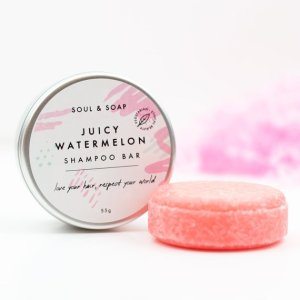 Plastic free zero waste solid shampoo bar - Soul and Soap watermelon