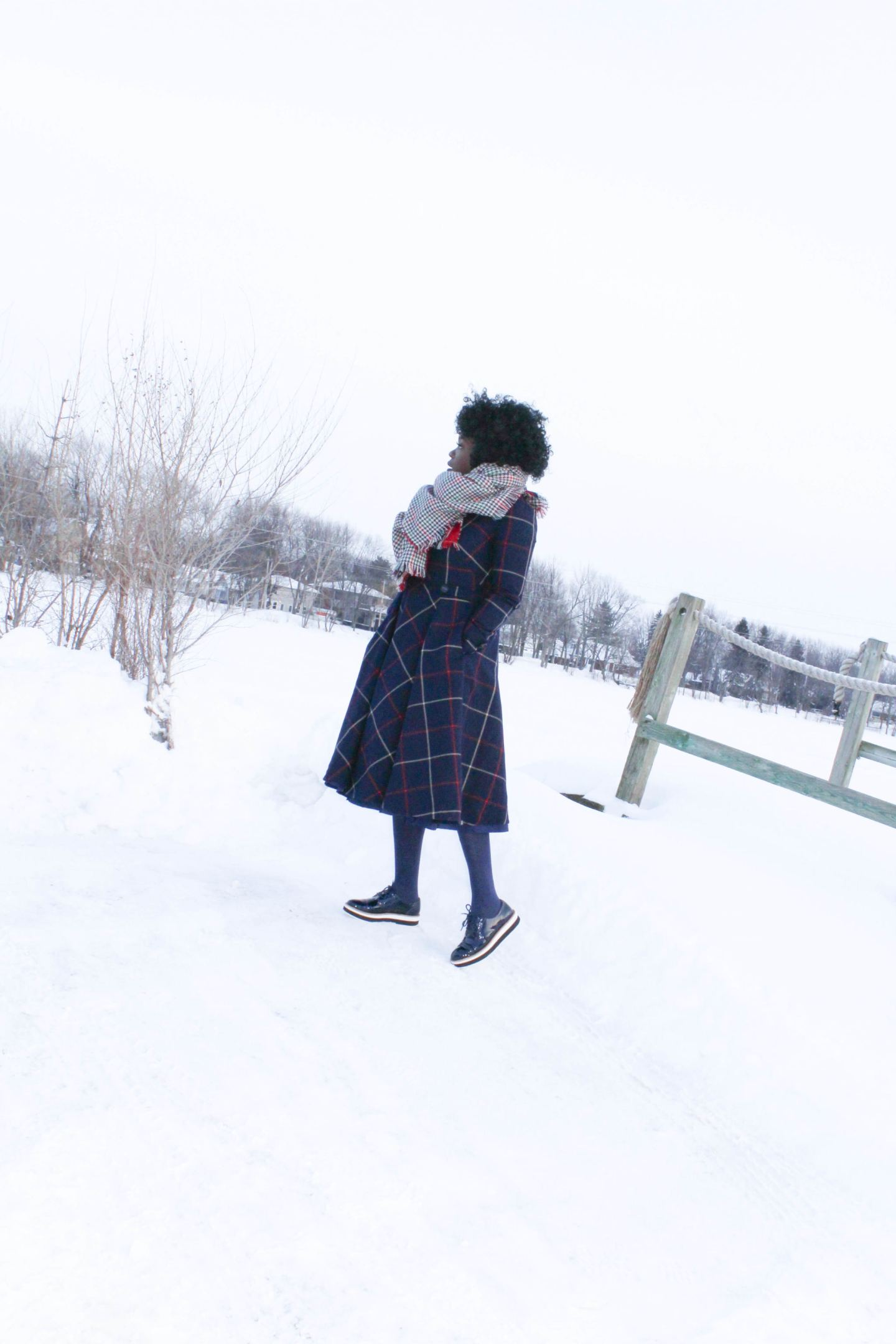 DIY Tweed Dress with blanket scarf in the snow- Yes I Made My Dress