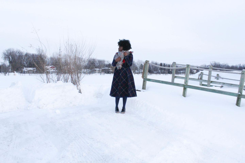 Blue Tweed Dress using Vogue 8615 pattern - Yes I Made My Dress