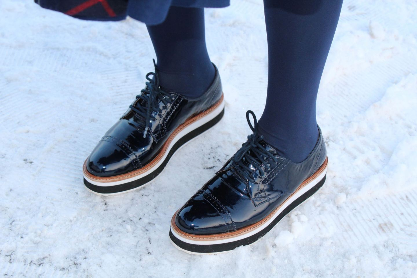 Halogen derby shoes with blue tights- Yes I Made My Dress