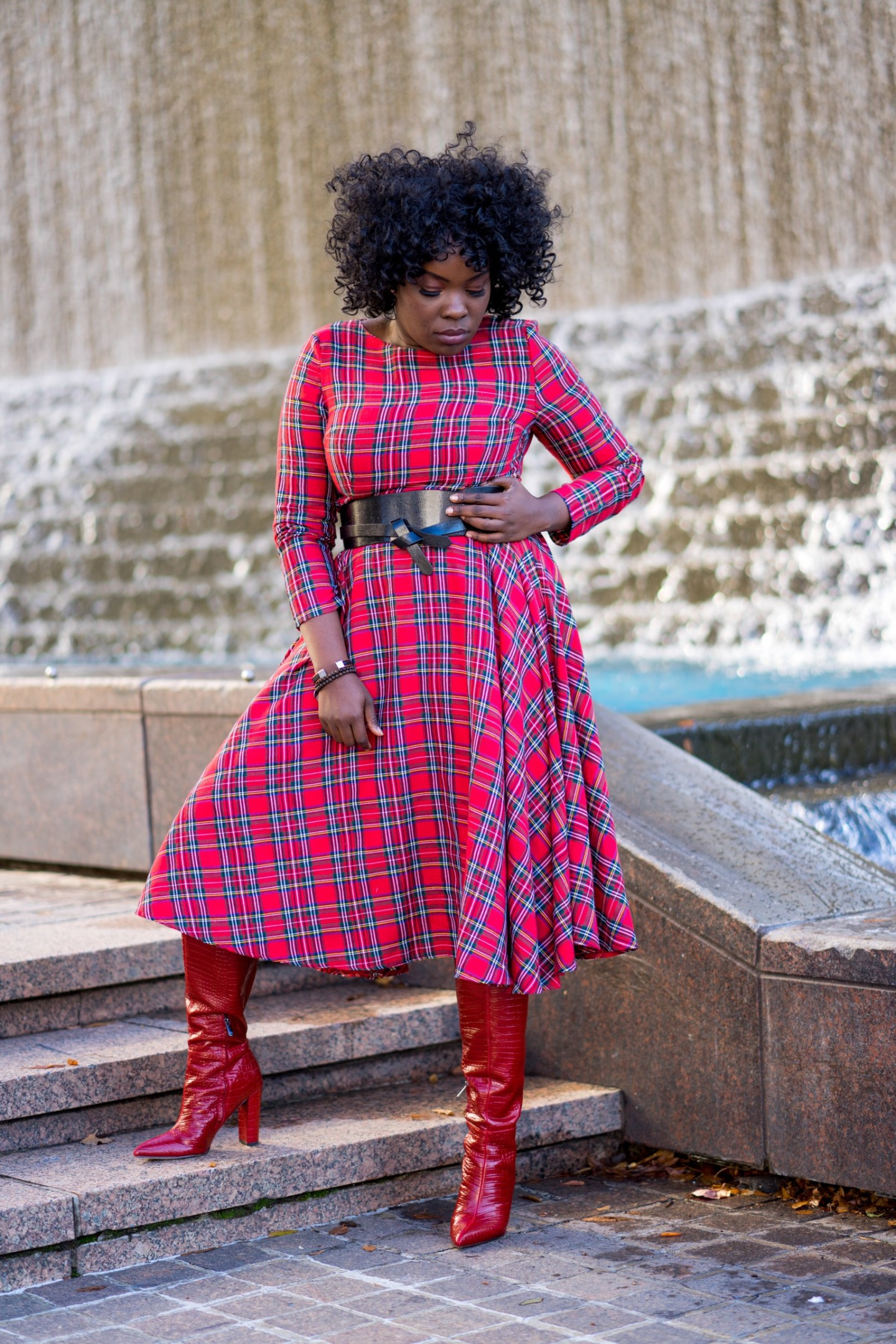 Wearing a red plaid dress from thrift store in Woodruff Park