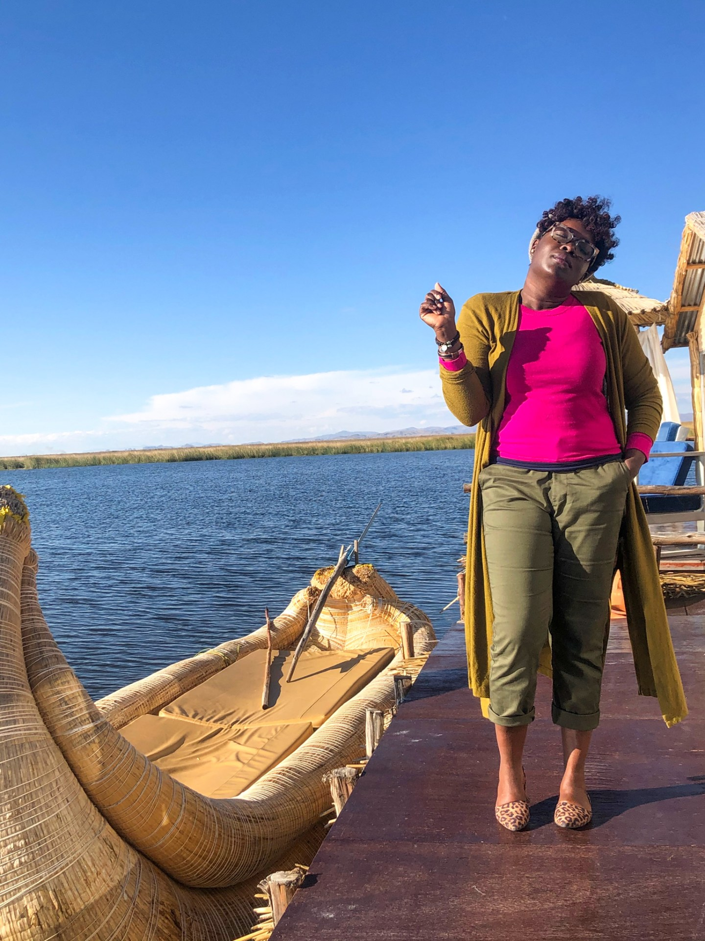 Black travel blogger at Lake Titicaca lodge.