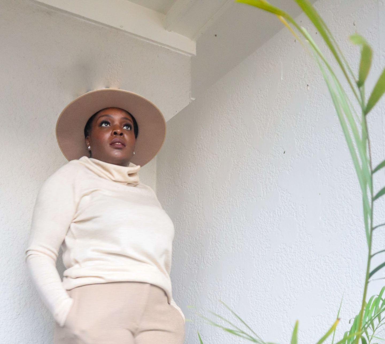 Palm plant lack of color wide brim zulu rancher hat black woman