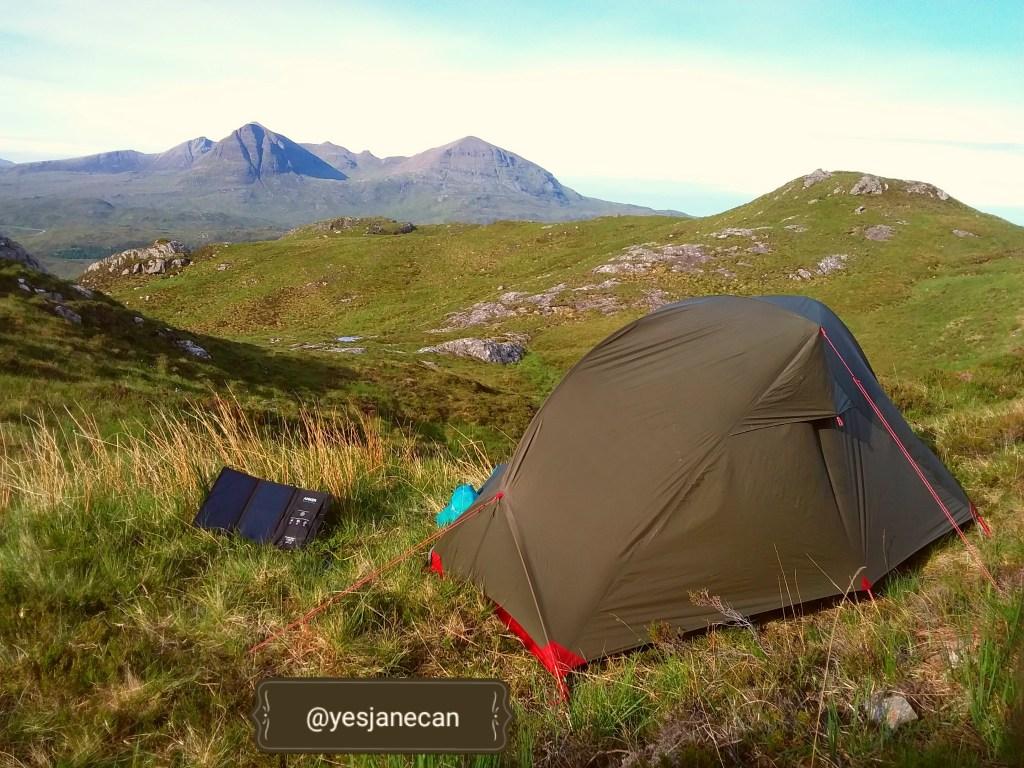 Overlooking Kylesku, wild camping in Scotland