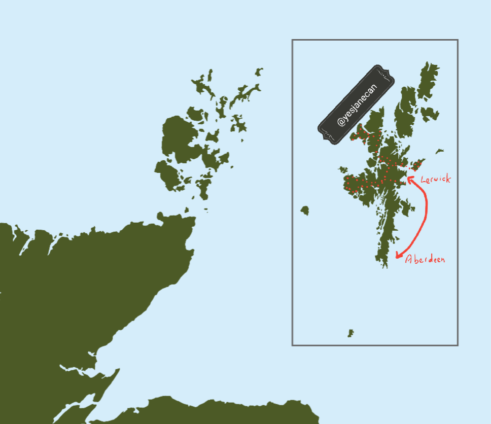 My route round Shetland