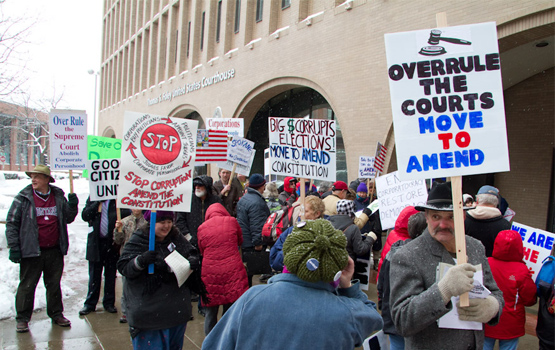 A protest about Citizens United in Spokane