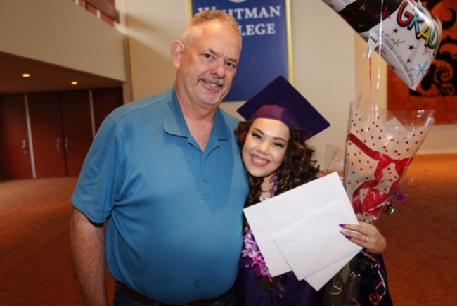 Former Lincoln Alternative High School Principal Jim Sporleder and Kelsey Sisavath. Photo courtesy of Jim Sporleder.