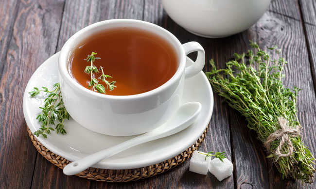 Thyme tea photo from Shutterstock.