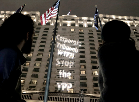Light Projection about TPP. Photo by Jerrick Romero / Backbone Campaign.