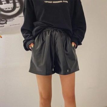 LIPHOP Faux Leather Drawstring Waist Shorts e1623398838172