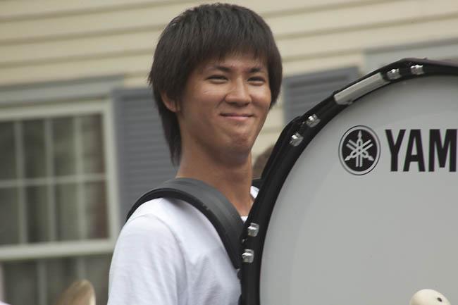 photo by karen davis - smiling bass drum marcher