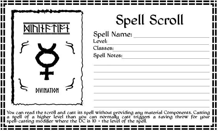 Spell Scroll Cards