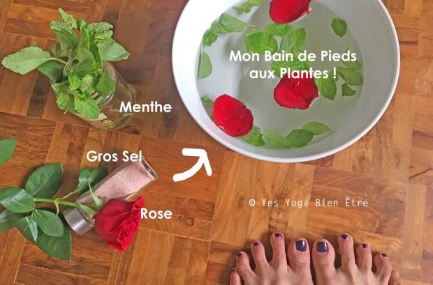 rituel bain de pieds aux plantes menthe rose